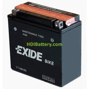 Batería AGM Exide moto YT14B-BS 12V. 12 Ah